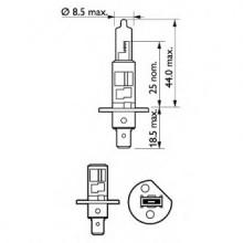 BEC FAR H1 55W 12V X-TREME VISION PHILIPS - SET 2 BUC-12258XV S2