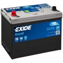 Baterii auto Exide Excell EB705 12V 70AH 540Aen asia borna inversa
