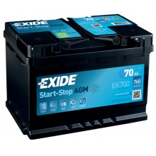 Acumulator auto Exide Start-Stop AGM EK700 12V 70AH 760Aen