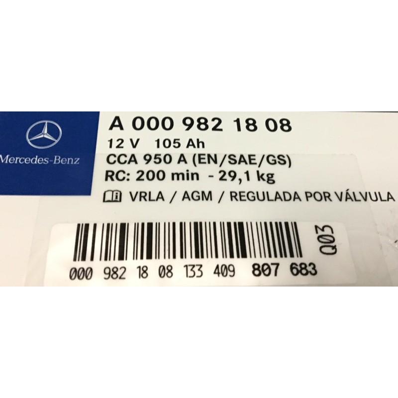Baterii Auto Mercedes A0009821808 Agm 12v 105ah 950aen