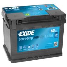 Acumulator auto Exide Start-Stop AGM EK600 12V 60AH 680Aen