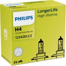 Set 2 becuri Philips H4 LongLife EcoVision 12V 60/55W 12342ELC2