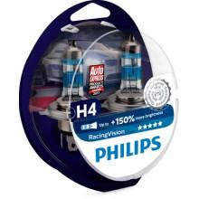Set 2 becuri Philips H4 RacingVision 12V 60/55W, +150% lumina 12342RVS2